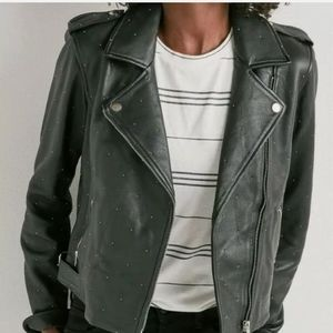 NWT Lucky Brand Pin Dot Leather Moto Jacket